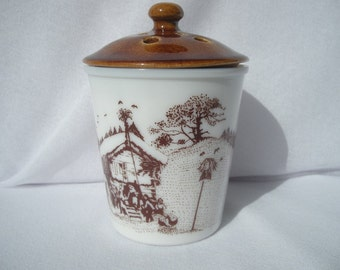 Vintage White Milk Glass Potpourri Cup Garlic Jar with Brown Winter Ski Chalet Scene - Lid is Brown and Vented by Amway