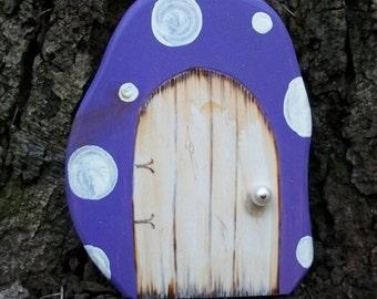 Fairy Door for Enchanted Gardens 6 inches Purple Mushroom Wooden Door