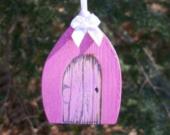 Pink Gothic Fairy Door Gift Tag or Christmas Tree Ornament 2 1/2 inches tall with Glitter and Bow