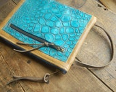 smooth tan and torquoise croc handmade leather pouch