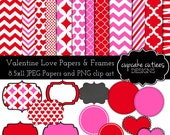 Valentine Love Papers and Frames - Digital Clipart Elements Commercial use Instant Download