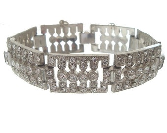 Art Deco Vintage Bracelet, Rhinestone Baguette Link, 1920s Art Deco Bridal Statement Jewelry, Art Deco Wedding Jewellery