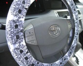 Filigree Skulls * Steering Wheel Cover * Vines Hearts * Subtle  Embossed Silver Filigree