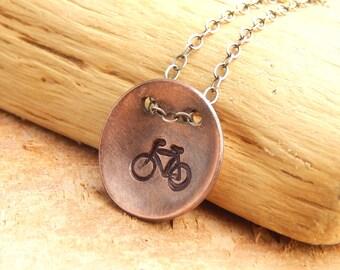 Bike necklace, bicycle jewelry, 5/8 inch copper bike necklace (medium size), ready to ship!