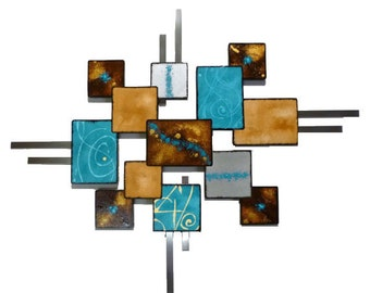 "Unique Turquoise & Brown Textured Geometric Wooden Abstract Wall Sculpture ""Laguna Square"" 37x30 - Wall Deor, Wall hanging, original art"