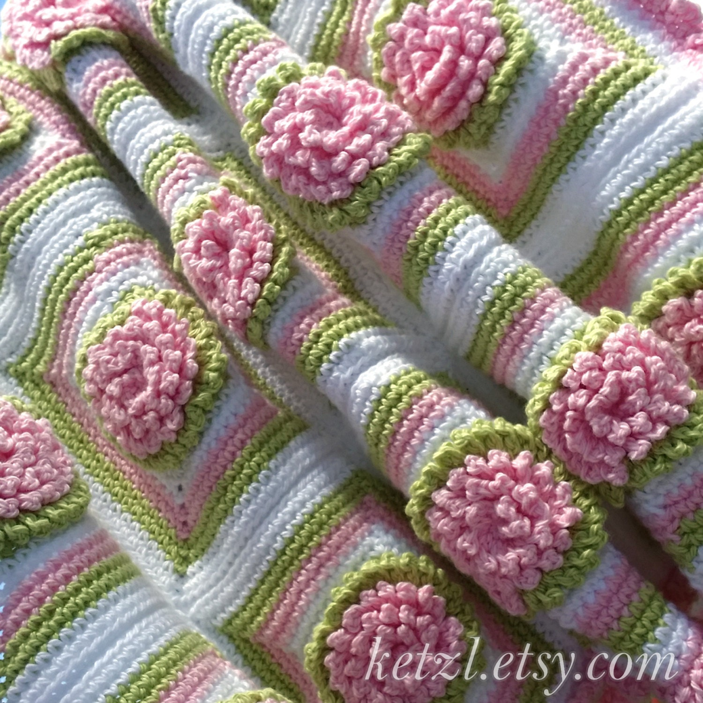Crochet Baby Blanket Patterns On Etsy : Crochet Pattern Baby Blanket Afghan Bunny Rug Chrysanthemum