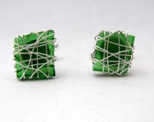 Glass Cufflinks, green cufflinks, Mens jewelry, gift for men, square cufflinks, Recycled glass jewelry for men