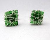 Glass Cufflinks, green cufflinks, Mens jewelry, gift for men, square cufflinks, Recycled glass jewelry for men