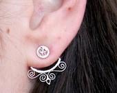 Silver Filigree Jacket Earrings, Ear Jacket Earrings, Subtle Elegant Silver Ear Jackets
