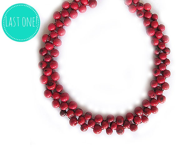 Red Bead Choker, Transformable Necklace, Acai Necklace, ecofriendly beaded jewelry,adjustable bead necklace, seed bead jewelry