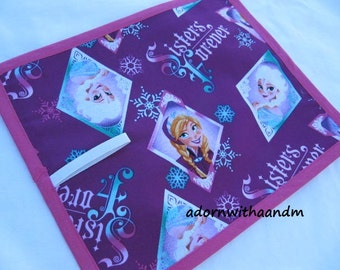 Chalkimamy TRAVEL chalkboard mat made with Disney's Frozen sisters forever fabric, travel toy, home school supply, patchwork, reusable, eco
