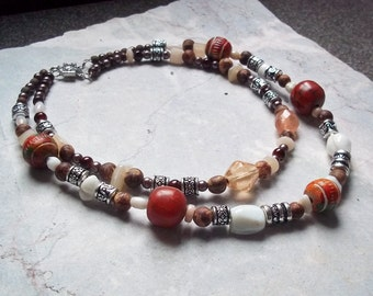 Wood and Glass Beaded Necklace - Double Strand Beaded Necklace - Boho Beaded Necklace