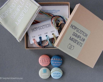 Hand Embroidery Kit, DIY Embroidery Sampler Magnet Set, Hopscotch Modern Magnets with supplies and instructions, needle minders