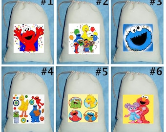 12 Sesame Street Elmo  Birthday Party Favor Candy Loot Treat Drawstring Bags