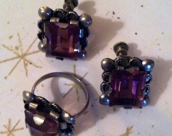 Vintage earrings & ring set lavender stone silver Mexico stamp  30's  40's lilac stones 1940's purple