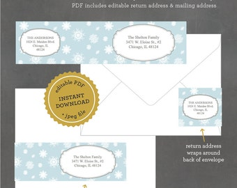 INSTANT DOWNLOAD, Printable Holiday Mailing Labels,  Snowflake Address Label