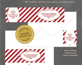 INSTANT DOWNLOAD, Printable Holiday Address Labels,  Striped Christmas Mailing Label