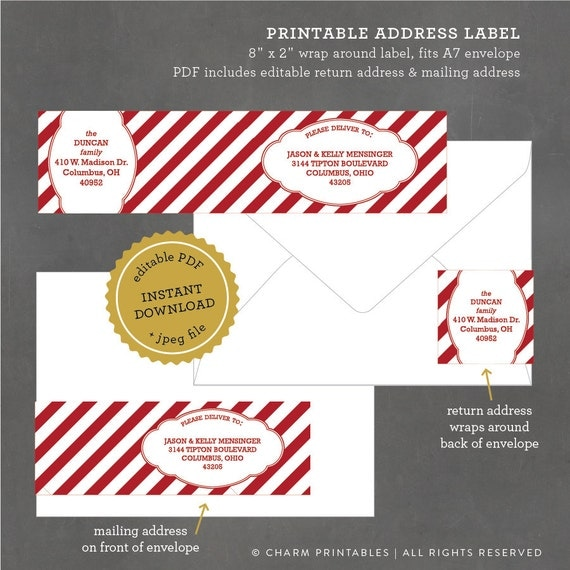 Instant download printable holiday address labels striped for Printable christmas address labels