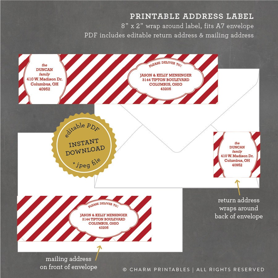 instant download printable holiday address labels striped