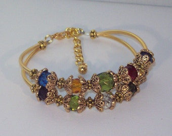 Swarovski Crystal Jewelry -  Mothers or Grandmothers Bracelet - 6 to 10 Birthstones - Gold or Silver