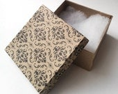 SET of 12 - Kraft Gift Boxes with Damask Printed Cover - Cotton Filled - for Favors, Jewelry, Gifts, Packaging, Wedding, etc