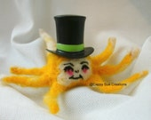 Felted  yellow octopus with top hat