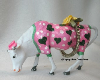 Happy Cow who loves to dress up mini figurine