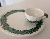 Christmas Dish Set Lefton Holly Berry White Holiday Luncheon Set 8 Available