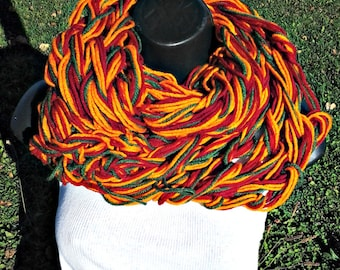 Knitted  Infinity Scarf Orange Blend
