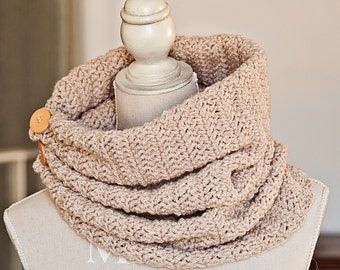 Crochet PATTERN  - Herringbone Gathered Cowl with buttons