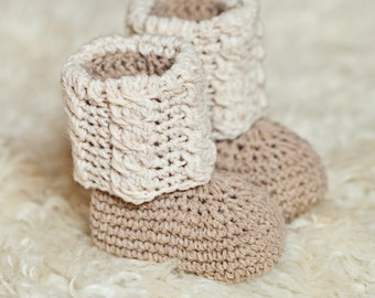 Crochet PATTERN - Baby Autumn Cable Boots