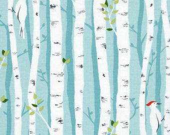 Blue Shower Curtain Birch Tree Shower Curtain Bird