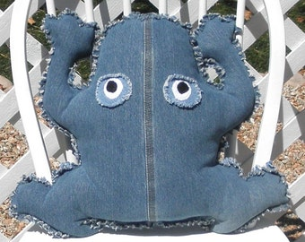 Frog Denim Jeans Rag Doll Pillow Adult Toy