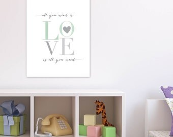 Beatles Print, All you need is Love Art, Baby Shower Gift, Archival Giclee Art Print for Nursery, Child's Room, Mint, N-G29-1PS AA1