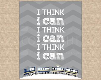 I Think I Can, Train Nursery Art, Transportation Decor, Kid's Playroom Art, Baby Shower Gift // Choose Art Print or Canvas // N-XT07-1PS AA1