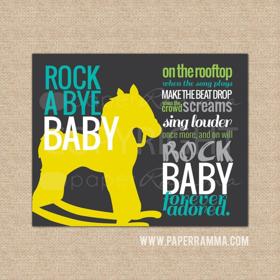 Rock n roll nursery wall art rock a bye baby paperramma for Rock n roll baby crib set