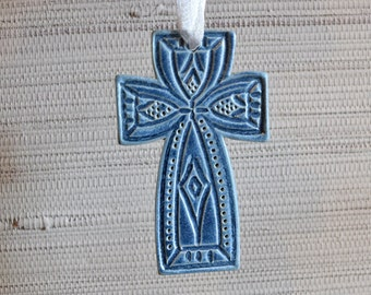 Slate Blue Cross Ornament - Ceramic Stoneware Pottery - Christmas Decoration