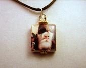 SANTA Jewelry / Christmas Pendant / Upcycled SCRABBLE Art / Beaded Charm