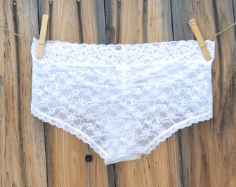BEST VALUE -  Bridal Panty, White Undie with BLUE stones, Mrs or I do in rhinestones Wedding size Medium - Ships in 24hrs