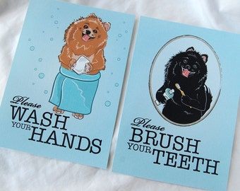 Pomeranian Bathroom Prints - 5x7 Eco-friendly Pair
