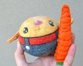 Needle Felted Bunny Rabbit Jingle Ball with Carrot Ready to Ship