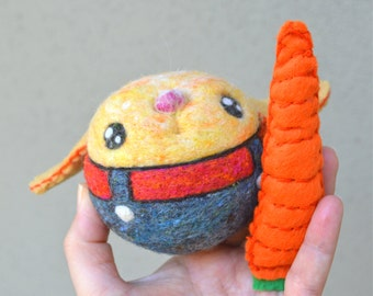 Needle Felted Bunny Rabbit Jingle Ball with Carrot Ready to Ship