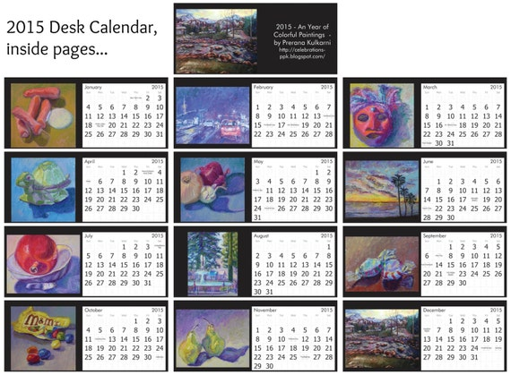 PreranaKulkarniArt - 2015 Desk Calendar, Premium Glossy Cardstock, 12 Original Oil paintings Reproduced on each page, While supplies Last!!
