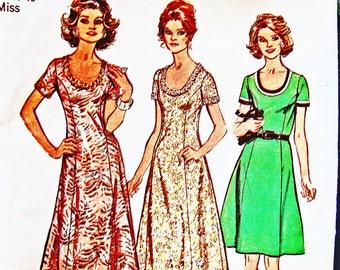 1970s Maxi Dress Pattern Plus Size 18 Bust 40 Scoop Neckline Dress, Princess Seam Dress, Long Dress or Mini Dress Vintage Sewing Pattern