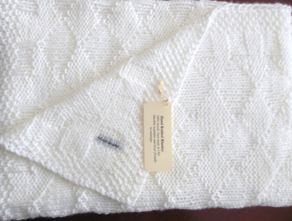 Machine Knit Baby Blanket Pattern : White Baby Blanket perfect Baptism or Christening Blanket