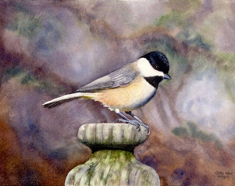 Black Capped Chickadee Watercolor Painting Print by Cathy Hillegas, 8x10, wildlife art, bird painting, gray brown cream, peach, gold green