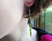Green Beaded Filigree Earrings