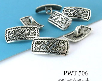18mm Rectangle Pewter Button, Antiqued Silver (PWT 506) 8 pcs BlueEchoBeads