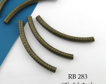 44mm Curved Tube Bead Noodle Bead Antique Brass BronzeTextured (RB 283) 5 pcs BlueEchoBeads