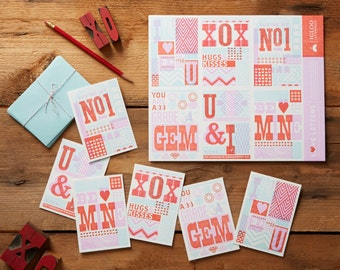 Tear & Share Letterpress Valentines - Six Perforated Cards